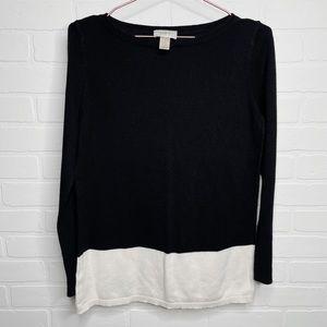 Loft color-block sweater cream black size large L